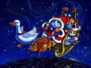 An illustration of santa puss driving sleigh