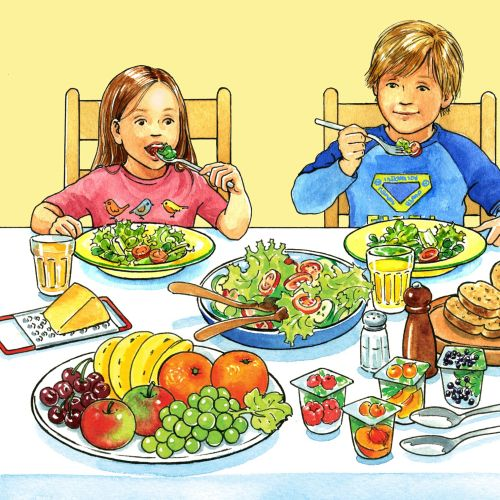 Kids having healthy food