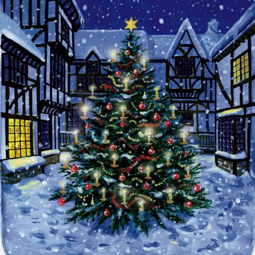christmas tree in snow illustration by ruth palmer