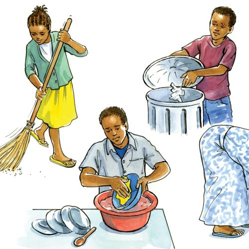 Illustration of cleaning up by Ruth Palmer