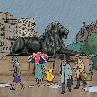 Lion statue sitting majestically illustration by Ruth Palmer