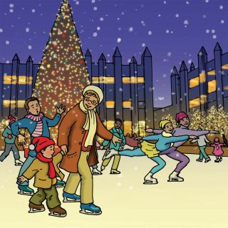 Winter skating illustration by Ruth Palmer