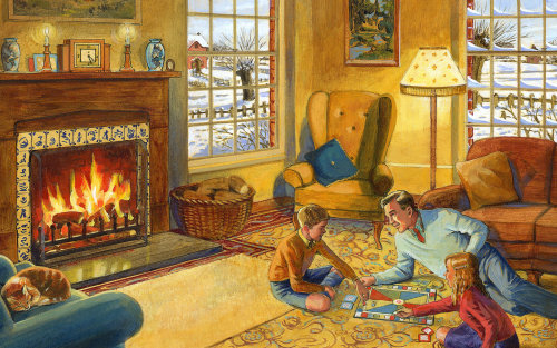 Family is playing board game together illustration