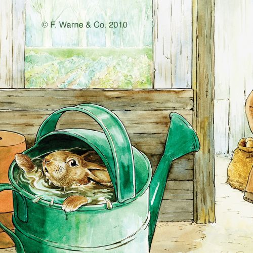 watercolor art of peter rabbit in watering can