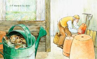 watercolor art of peter rabbit in watering can