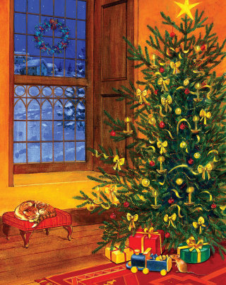 illustration of gifts around the christmas tree