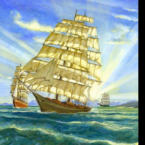 pencil artwork of old sailing ships