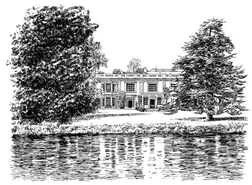 Line art of house with lake