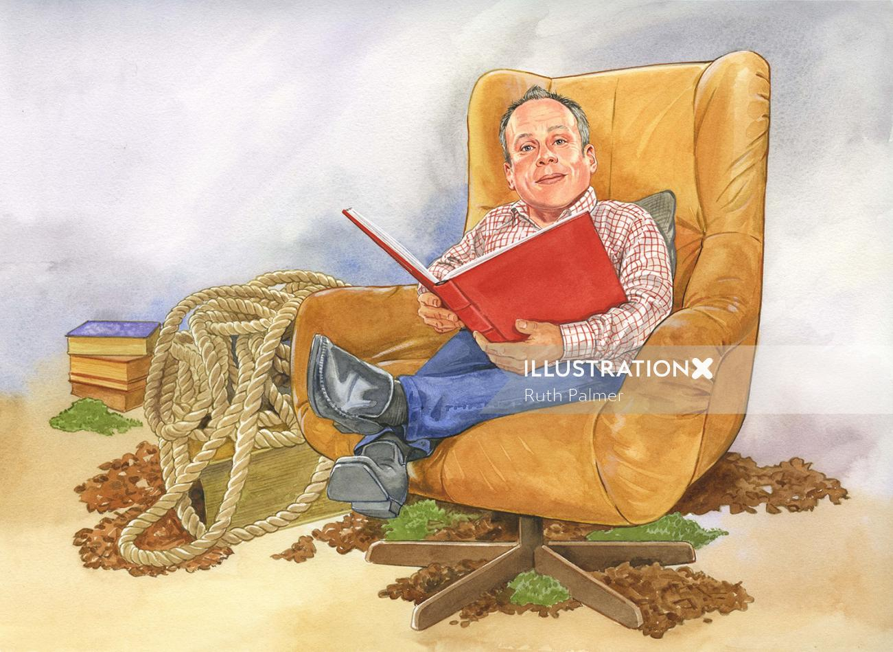 Potrait of old man in chair