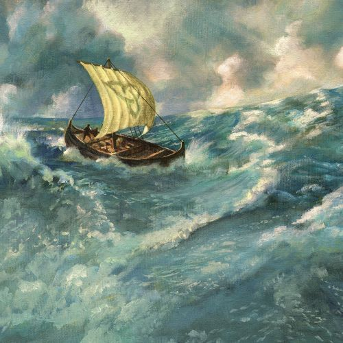 viking ship on ocean oil painting