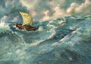 viking ship on ocean oil painting