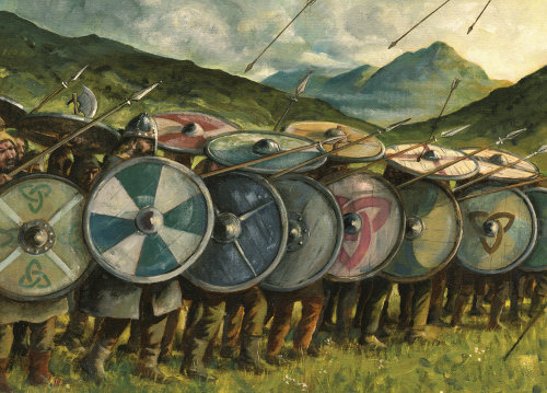 Painting Art of Middle Ages Armor with shields