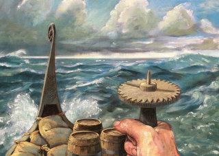 illustration of viking sun compass
