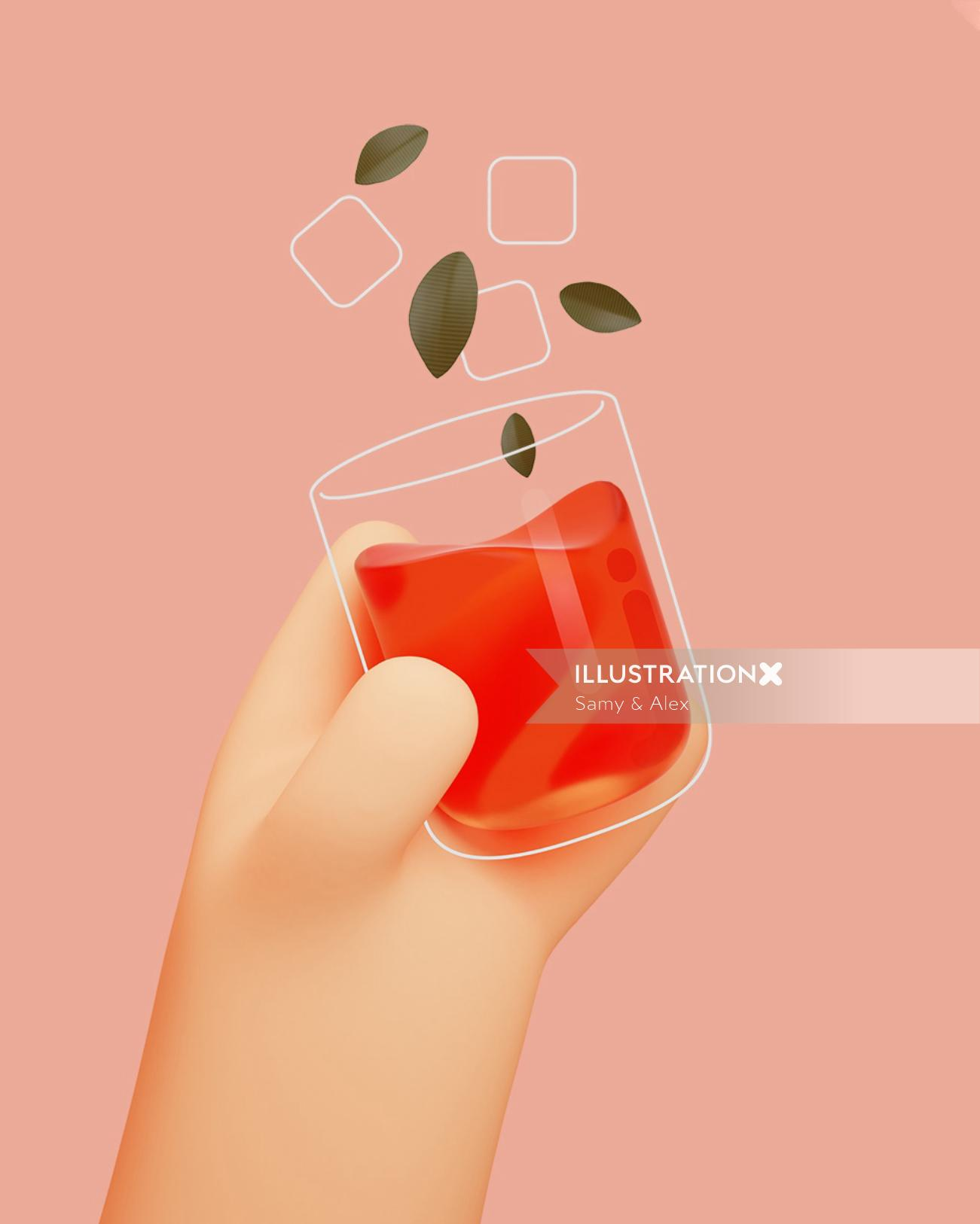3d illustration of wine glass