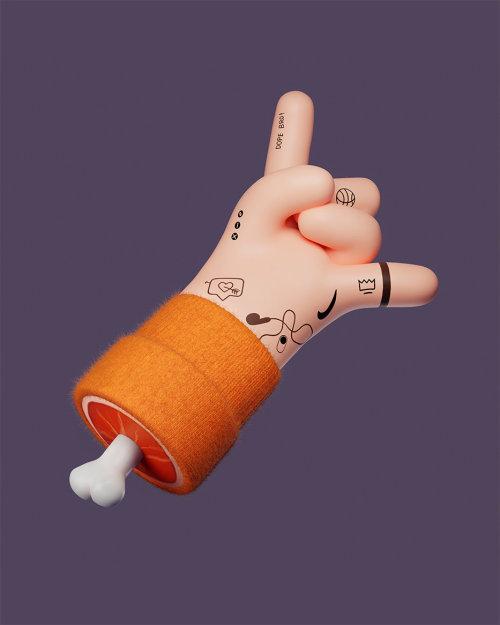 Cgi illustration of tatooed fingers