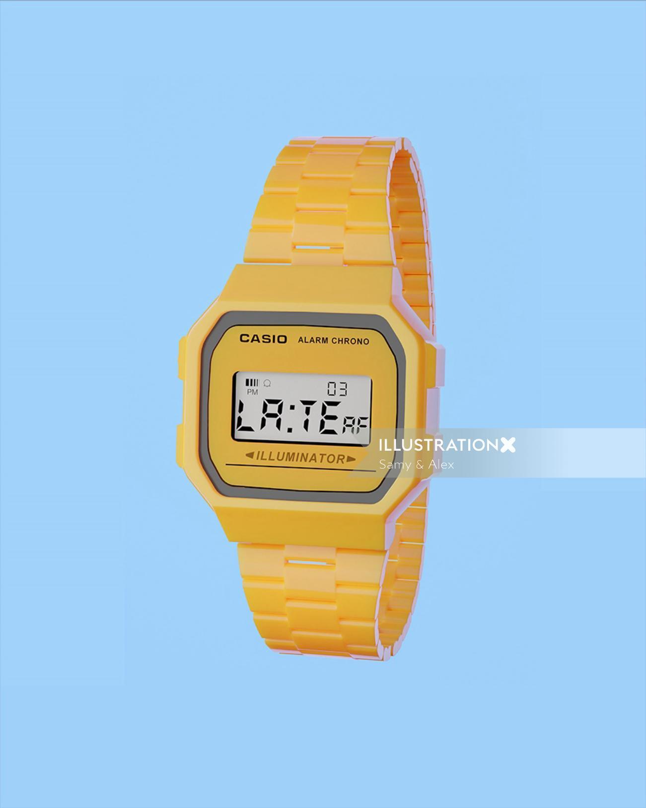 Digital painting of Casio watch