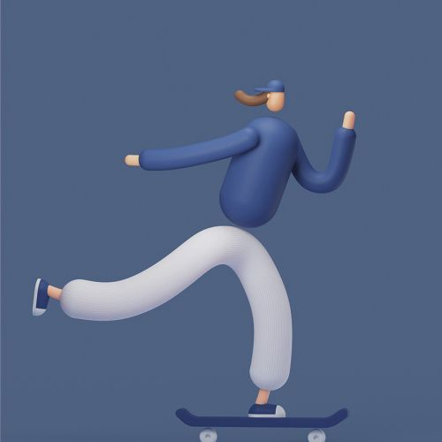 Skateboard riding 3d illustration