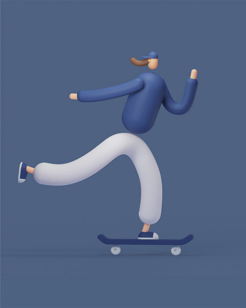Skateboard équitation 3d illustration
