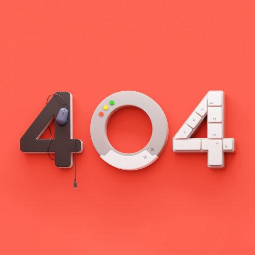 Realistic illustration of 404 error
