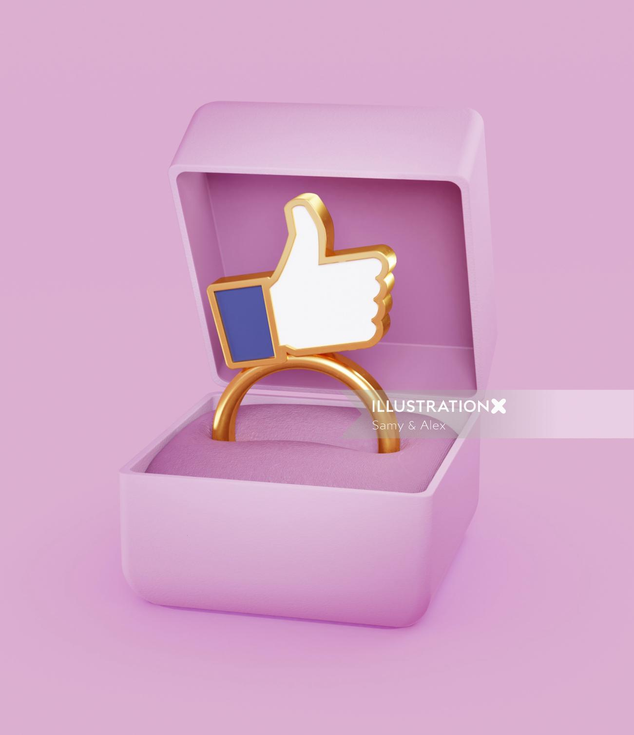3d illustration of wedding ring