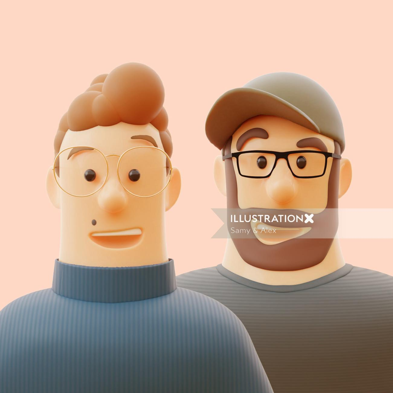 3d portrait illustration of Samy & Alex