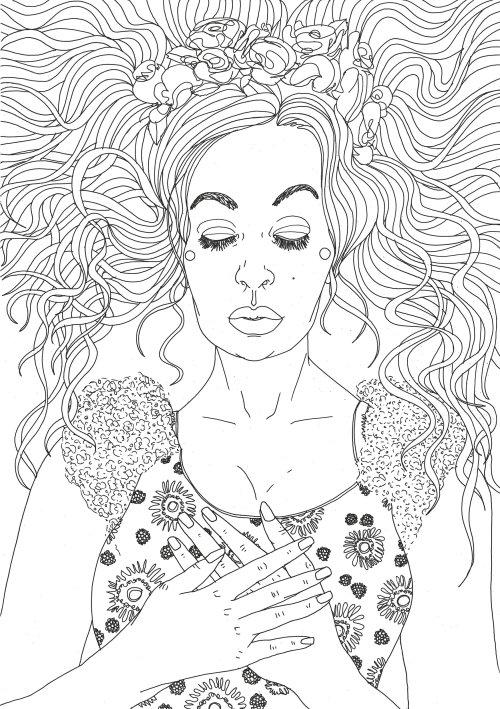 Black & white line drawing of sleeping beauty