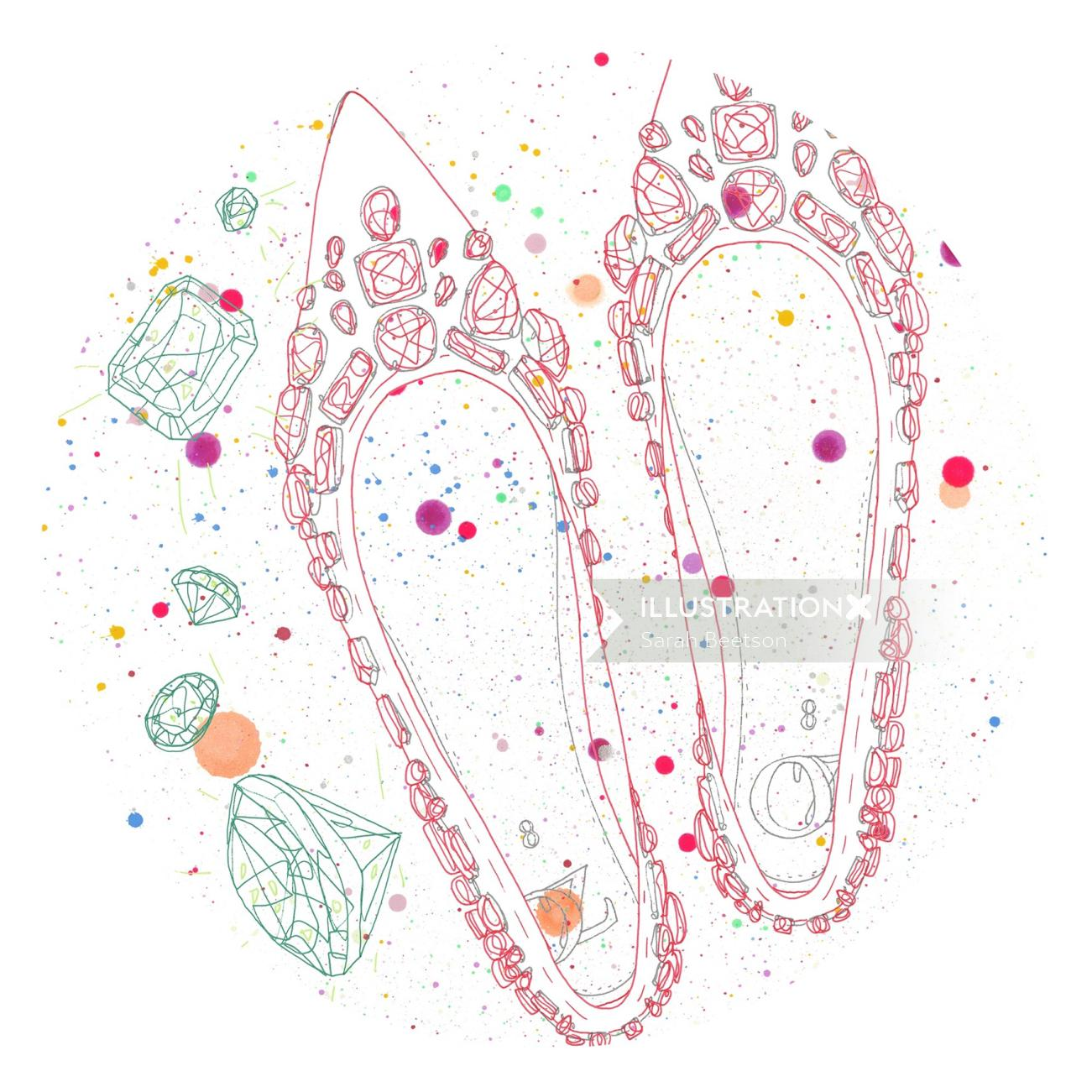 Illustration of stone shoes for woman
