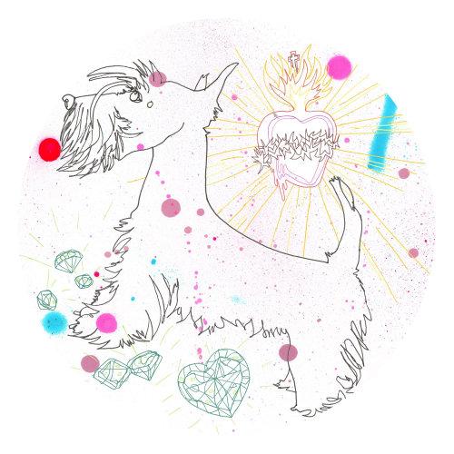 Line art illustration of a dog