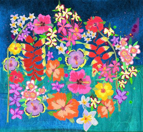Pintura natural de flores coloridas