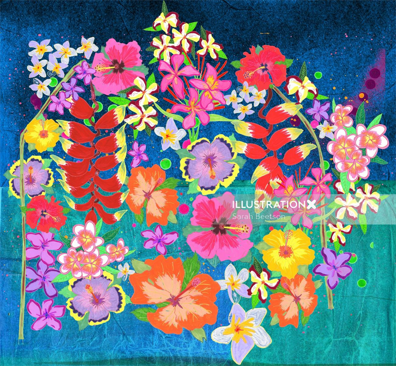 Nature painting of colorful flowers
