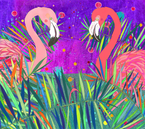 Nature Pop painting of swans
