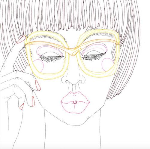 Animation of line art illustration of model