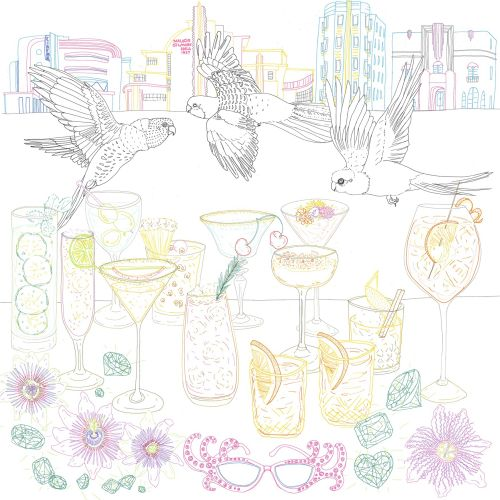 Line art of birds and drinks