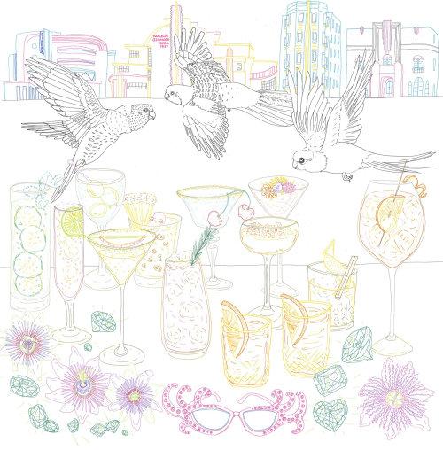 Arte de linha de pássaros e bebidas