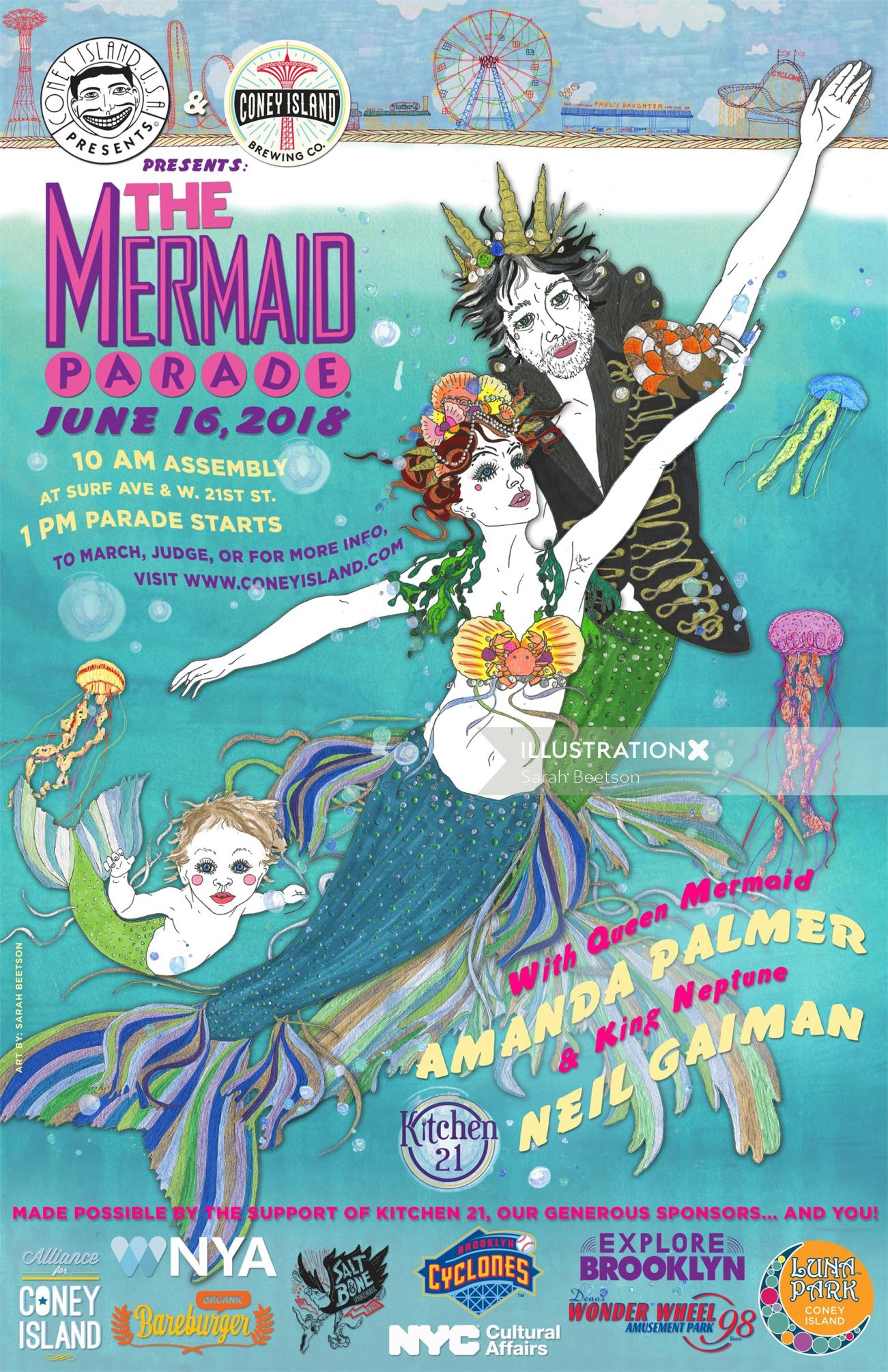 Graphic the mermaid parade