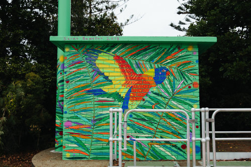 Street art painting of a bird