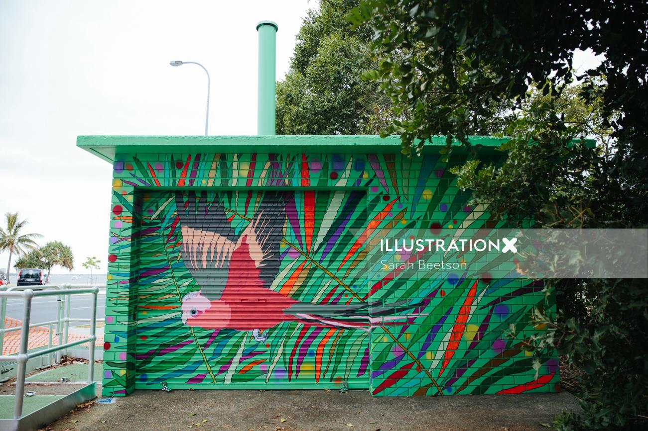 Illustration of flying parrot mural by Sarah Beetson