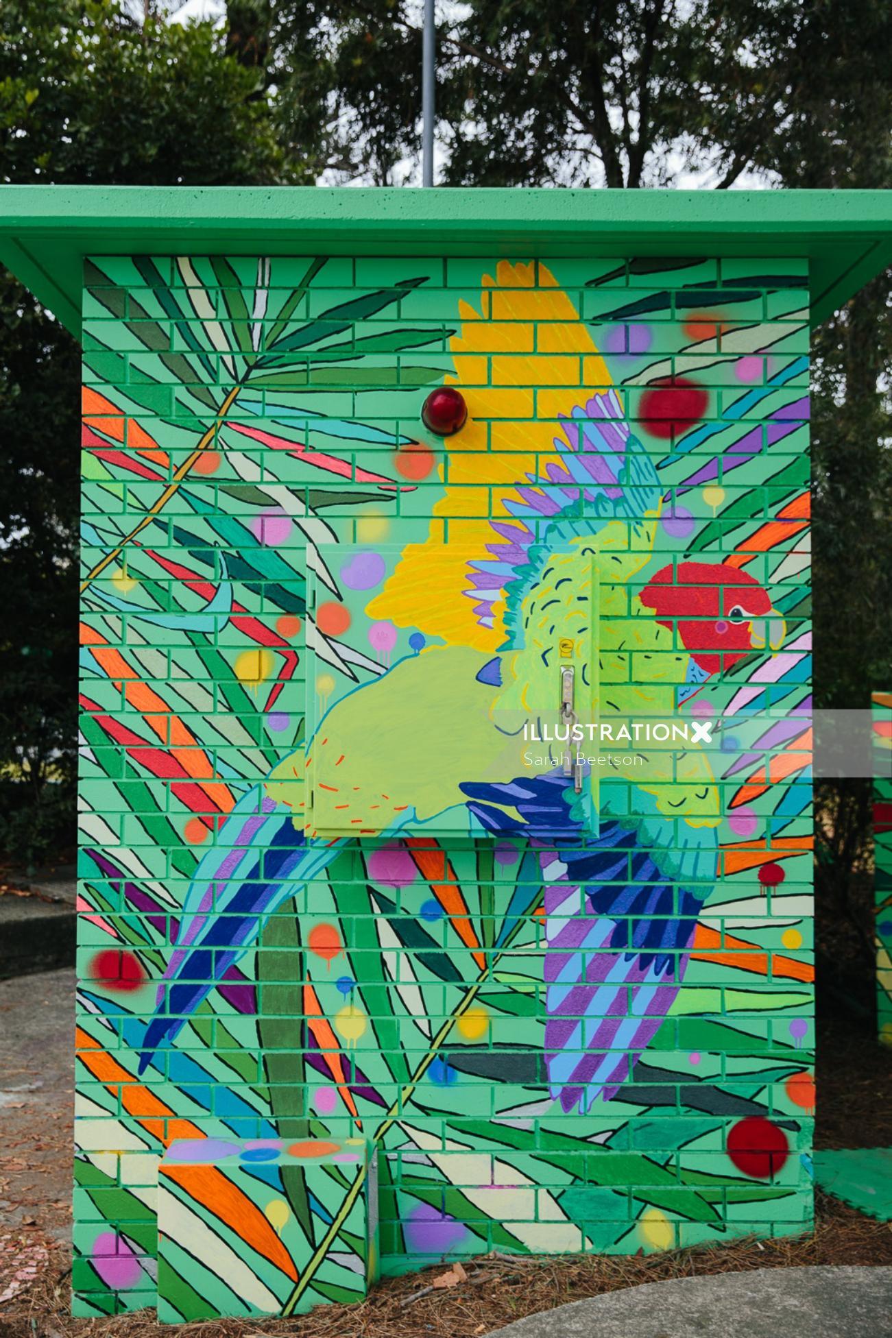 Illustration of parrot wall mural
