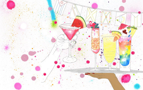 Design gráfico de copos de suco