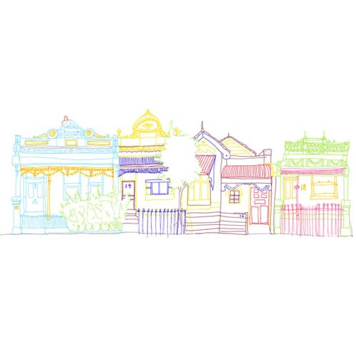 Line illustration of colourful stores