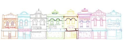 Ilustração da linha de lojas