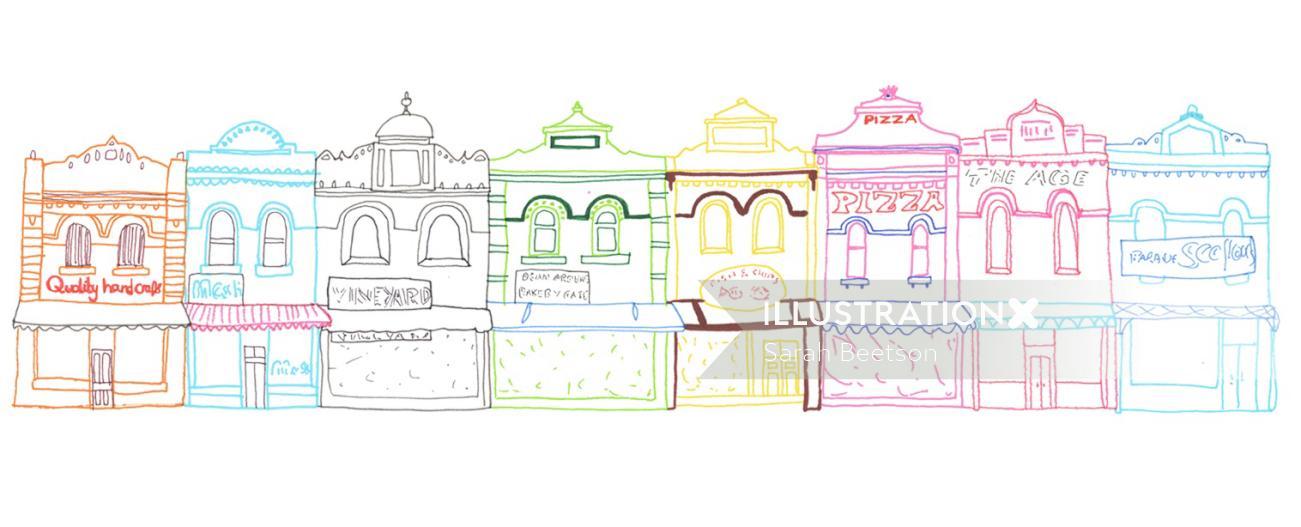 Shops line illustration