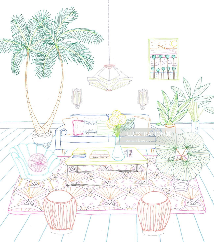 Illustration of interior home decor