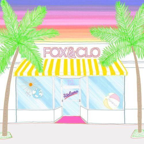 line illustration of Fox & Clo storefront