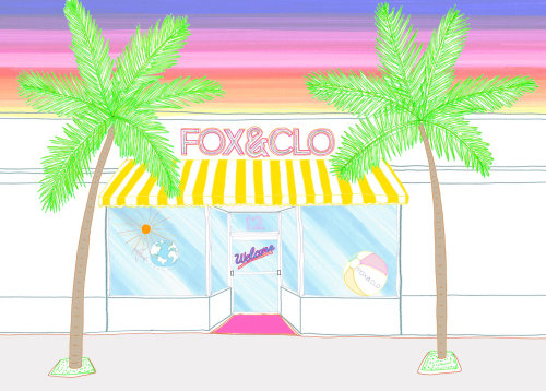 line illustration of Fox & Clo storefront
