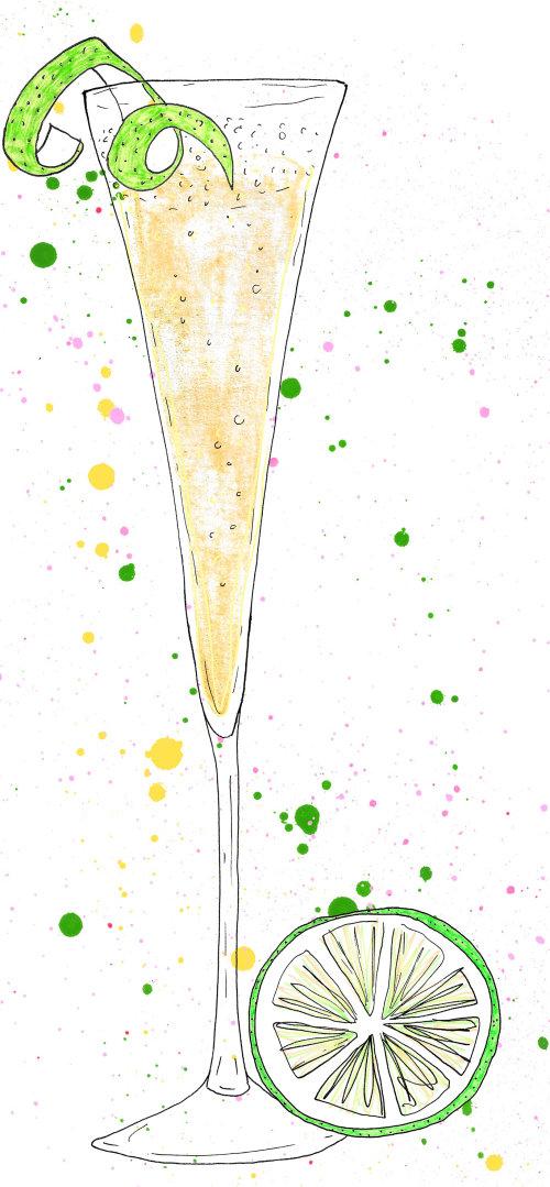 Line illustration of Lemon juice in glass