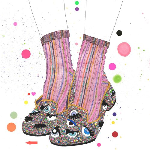 metallic rainbow glitter shoe illustration