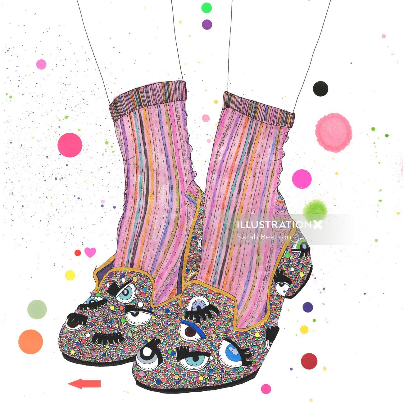 metallic rainbow glitter shoe illustration