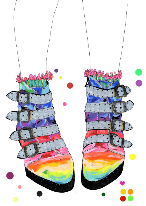 Fashion illustration of Rainbow color boots
