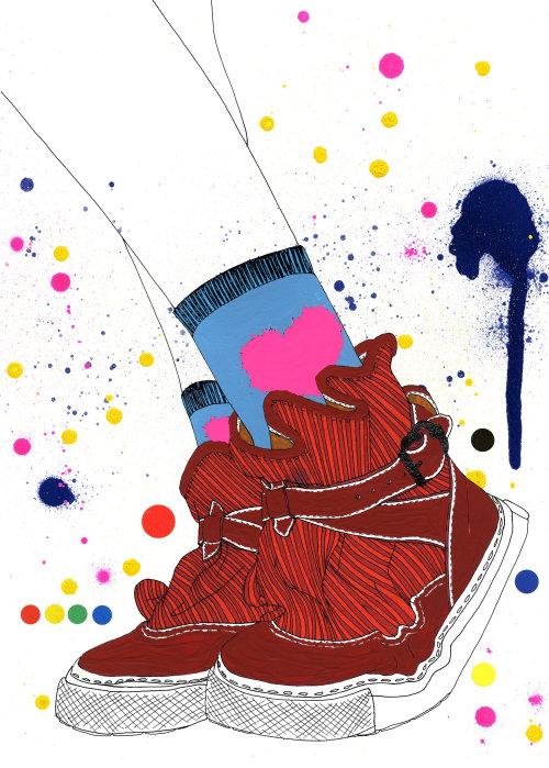 Ilustração gráfica colorida de moda